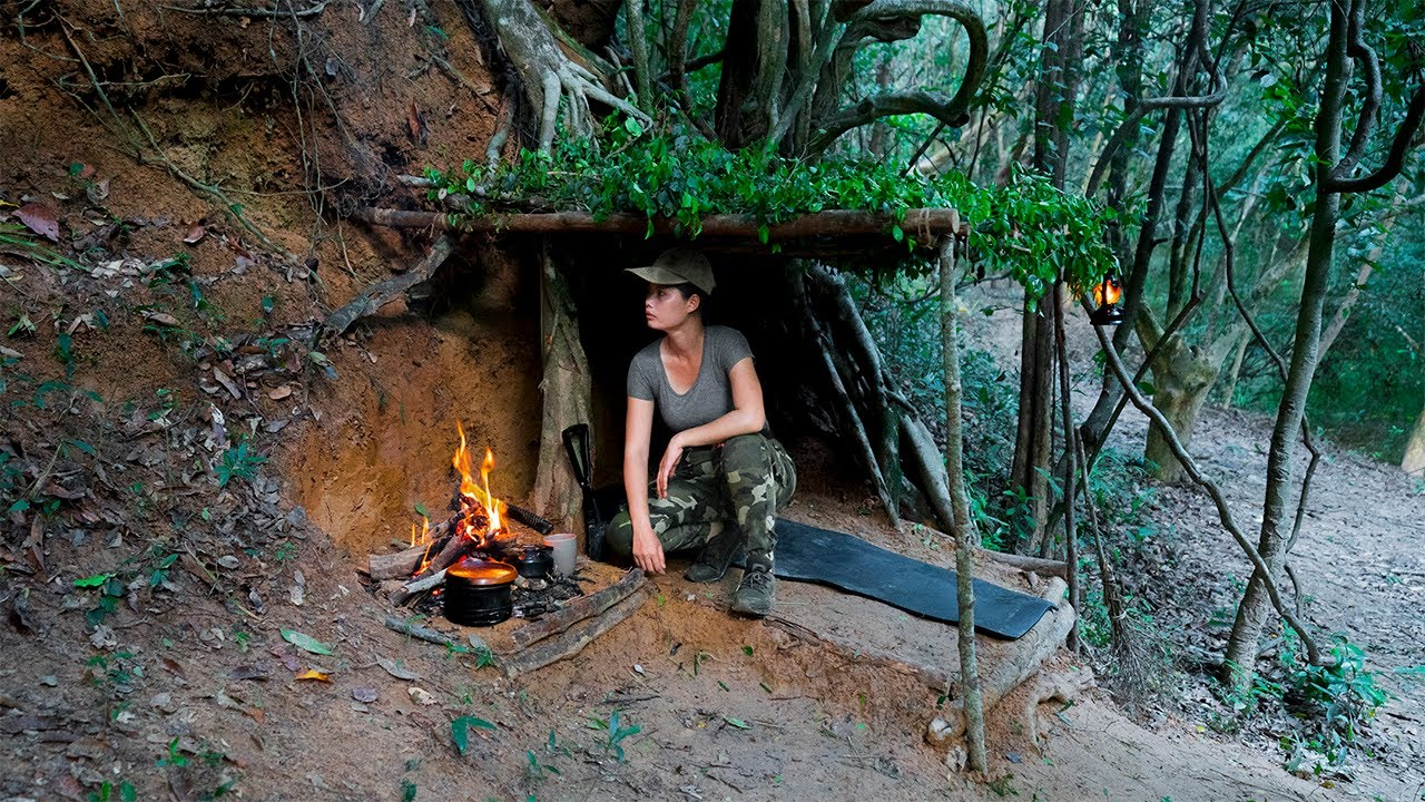 Full-Video: Solo Bushcraft in 2days, No Food | Survival Food in Forest - Bushcraft Skills