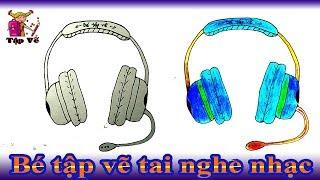 Bé tập vẽ tai nghe nhạc theo mẫu | draw headphones