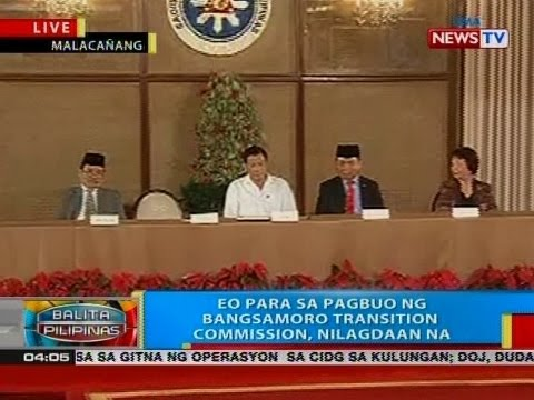 BP: EO para sa pagbuo ng Bangsamoro transition commission, nilagdaan na