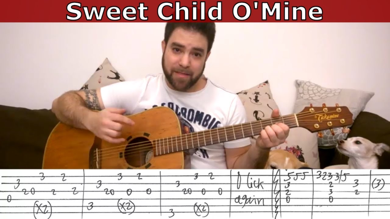 Fingerstyle Tutorial Sweet Child O Mine Guitar Lesson W Tab