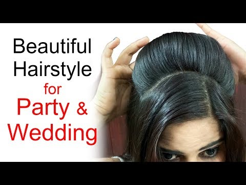 Beautiful Hairstyle For Wedding Party | Puff Hairstyle For Long Hair