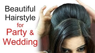 Beautiful Hairstyle for Wedding Party   Puff Hairstyle for Long Hair