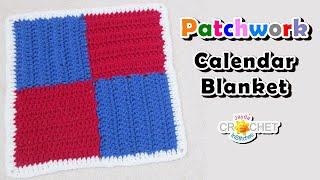 "Crochet 4 Patch Pattern (12"") - Patchwork Square Calendar Blanket - April"