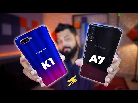 OPPO K1 Vs SAMSUNG GALAXY A7 Comparison ⚡⚡⚡ Camera, Gaming Performance, Battery, Looks