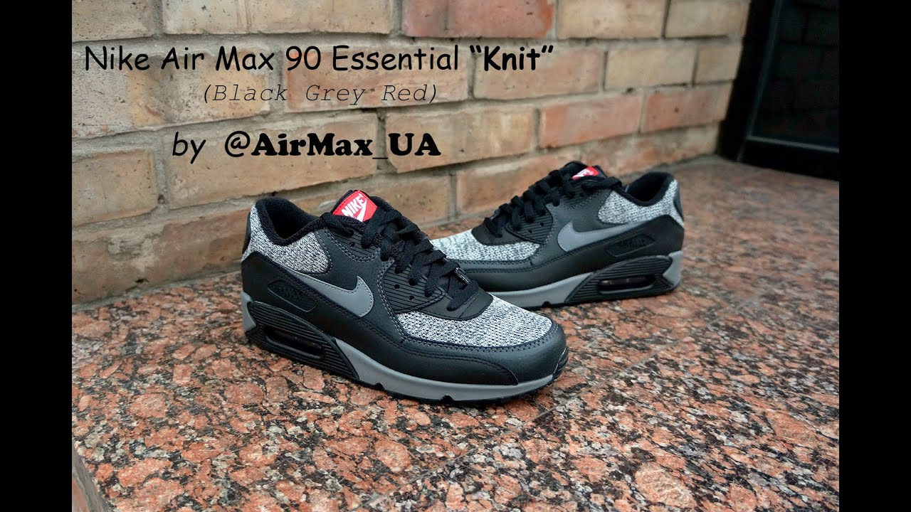 """official store lowest discount to buy Nike Air Max 90 Essential """"Knit"""" Black Grey Red - YouTube"""