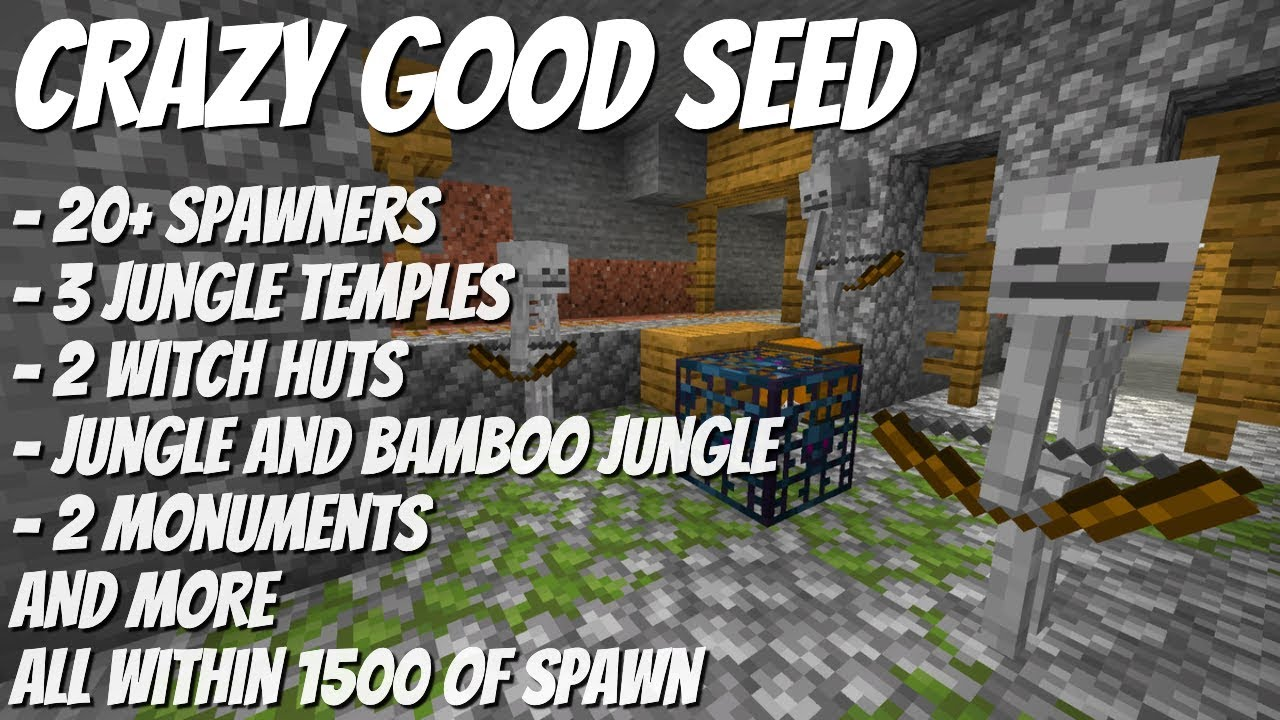 Amazing Minecraft Seed For 1 15 So Many Spawners Jungles Monuments Villages More Avomance 2020 Youtube