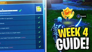 ALL Week 4 Challenges Guide! Search between a Bench, Ice Cream Truck, and a Helicopter! Storm Circle