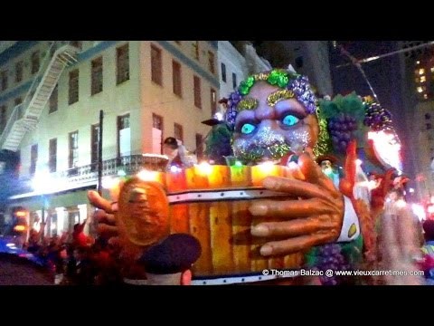 New Orleans Mardi Gras Night Parade near St. Charles & Canal