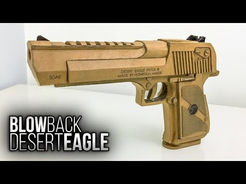 How to make   Cardboard DESERT EAGLE with BLOWBACK and MAGAZINE   Highly Detailed   Free Templates