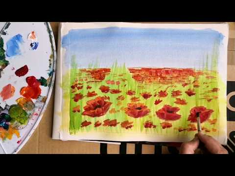 Step by step landscape painting tutorial |Quick and easy poppy field acrylic painting for beginners