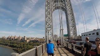 Cycling George Washington Bridge North Sidewalk from Fort Lee, NJ to NYC
