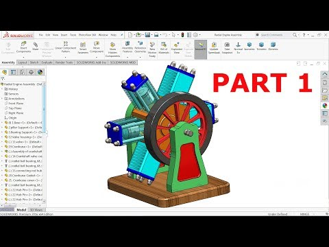 Solidworks tutorial | 6 Cylinder Radial Engine Part 1