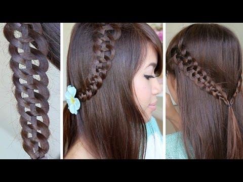 4-Strand Slide-Up Braid Hairstyle Hair Tutorial - YouTube