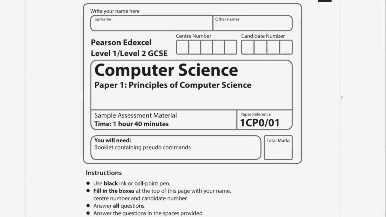 Edexcel 9-1 GCSE Computer Science Sample Paper 1