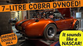 7-litre LS7 Gardner Douglas Cobra rolling roaded at John Sleath Race Cars - V8 sounds like a NASCAR!