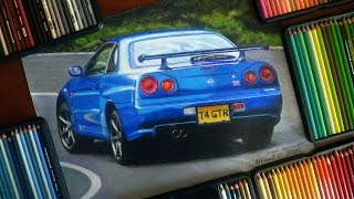 NISSAN SKYLINE R34 GT-R (PRISMACOLOR PENCILS) DRAWING ISP 2015