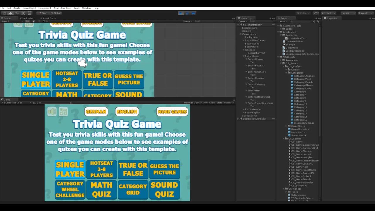 Testing localization plugin in Trivia Quiz Game - YouTube