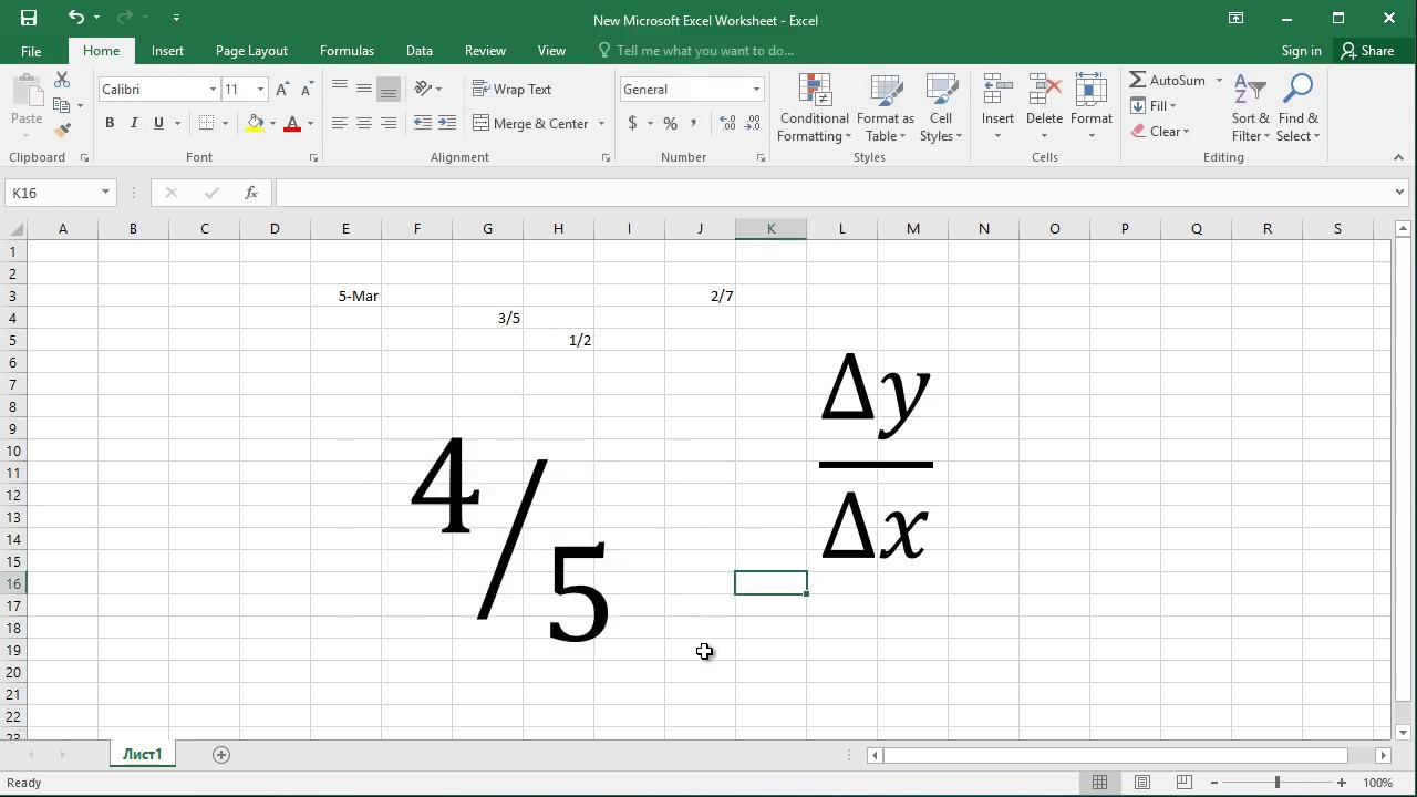 How to write a fraction in Excel Entering Fractions in Excel