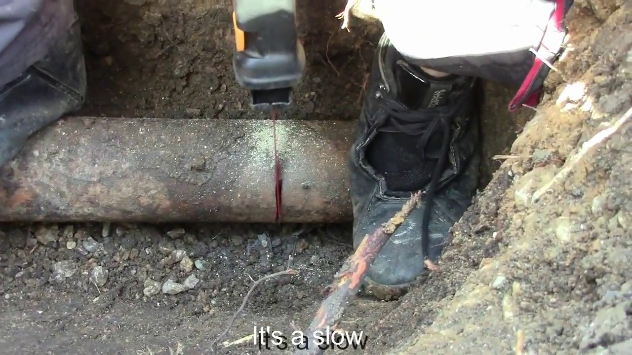 sewer repair, cast iron to PVC - YouTube