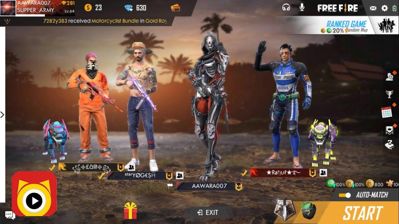 Free Fire Live Rush Game Play Aawara007 Freefire
