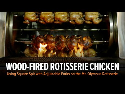 Rotisserie Tools And Accessories Square Spit With Forks Demonstration