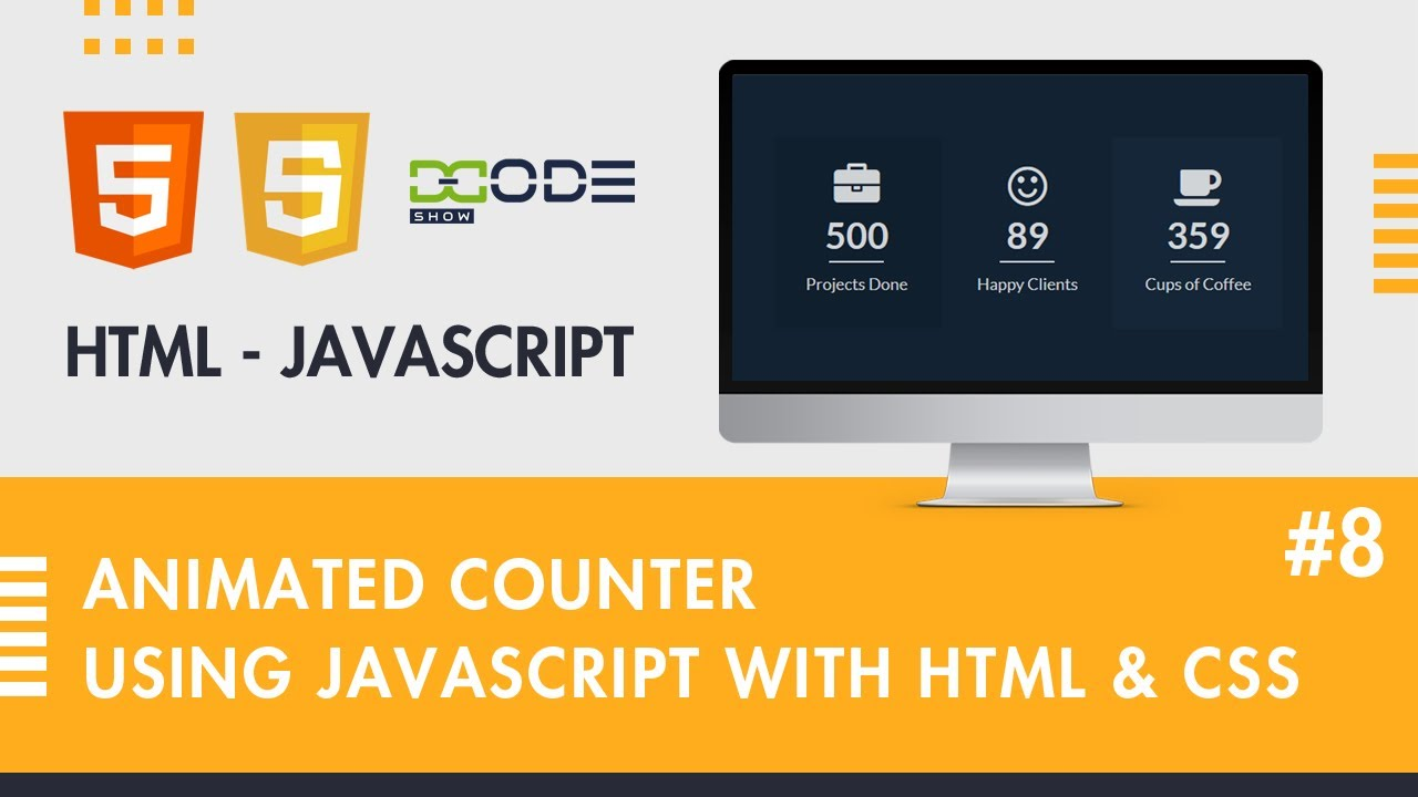 Animated Counter using JavaScript with HTML, CSS | JavaScript Counter Animation