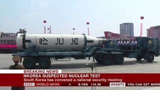 BBC World News - North Korea suspected nuclear test
