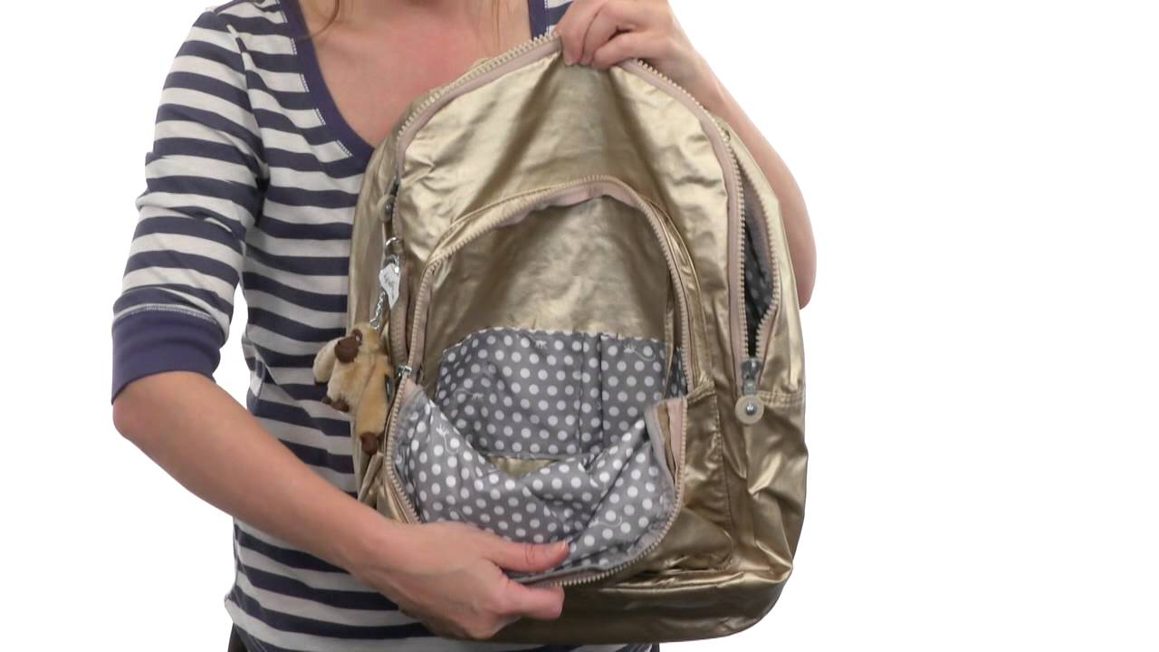 75b66ab1b7f Kipling Seoul Metallic Backpack With Laptop Protection SKU: 8355298 -  YouTube