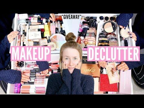 MAKEUP COLLECTION DECLUTTER! *HUGE MAKEUP GIVEAWAY* | Sophie Louise