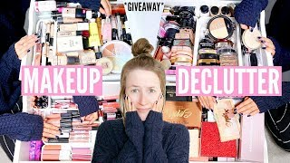 MAKEUP COLLECTION DECLUTTER! *HUGE MAKEUP GIVEAWAY* | Sophie Louise
