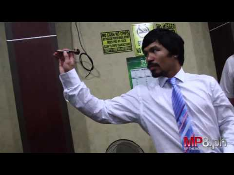 Manny Pacquiao - Tests out New MP Target Darts Line, Plays Against Legendary Rod Harrington