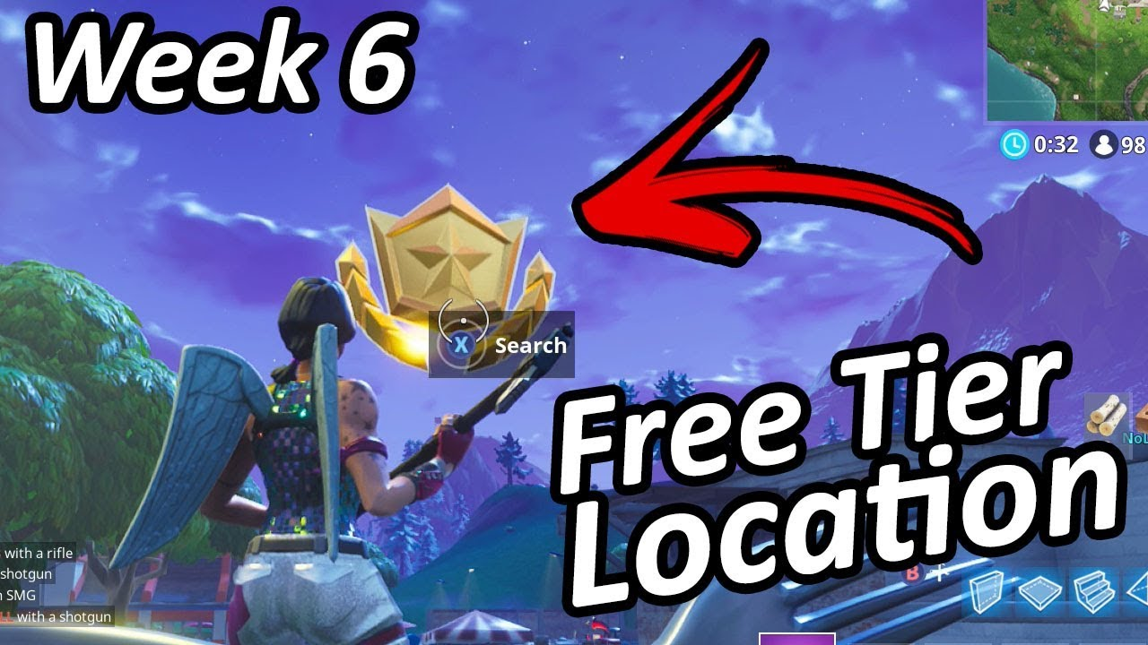 free battle pass tier week 6 challenges location fortnite battle royale - fortnite week 6 free tier season 8