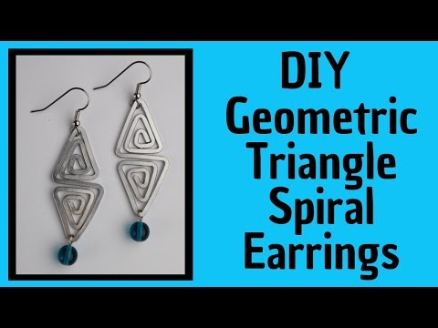 DIY Geometric Triangle Spiral Earrings Flattened without a Hammer