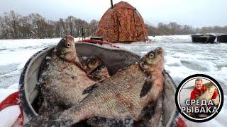 Ловля ПОДЛЕЩИКА зимой Зимняя рыбалка с НОЧЕВКОЙ в палатке на Можайском водохранилище 2021