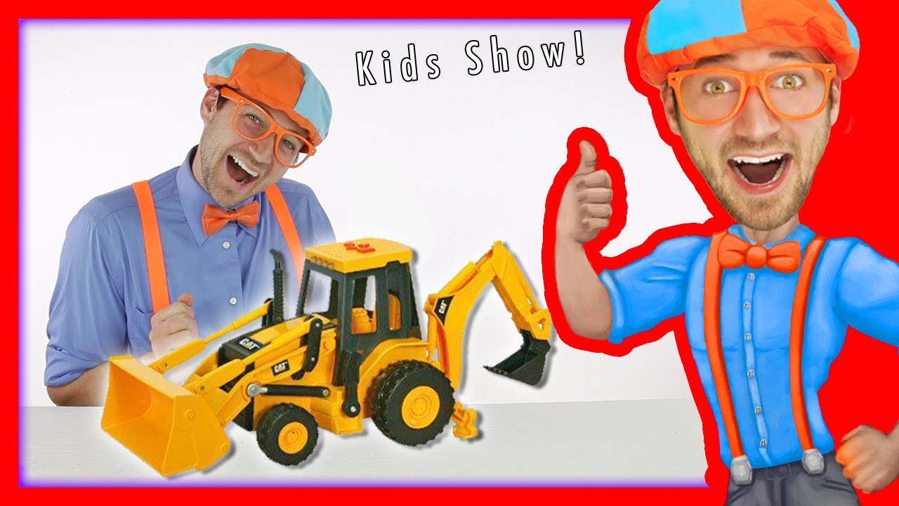 Backhoe for Children   Blippi Toys fun Construction Vehicles