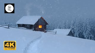 Snowstorm, Blizzard & Howling Winds | 10 Hours Relaxing Sounds for Sleep, Insomnia, Wooden Cabin 4K