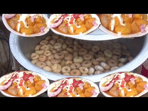 Cheap But Very Tasty Street Food(Mixed Bara Chaat) in India(Orissa) - See How Common People Eating
