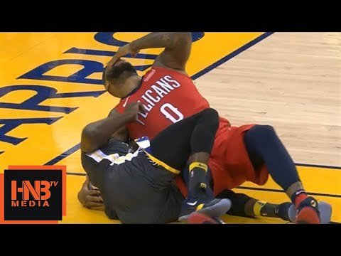DeMarcus Cousins & Draymond Green Hard Fall / GS Warriors vs Pelicans