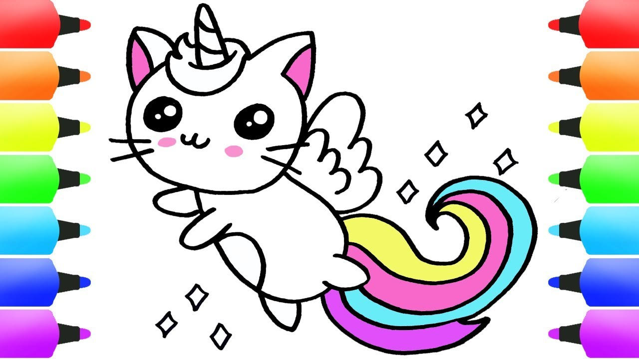 Unicorn cat unicat easy drawing for children baby coloring pages for kids