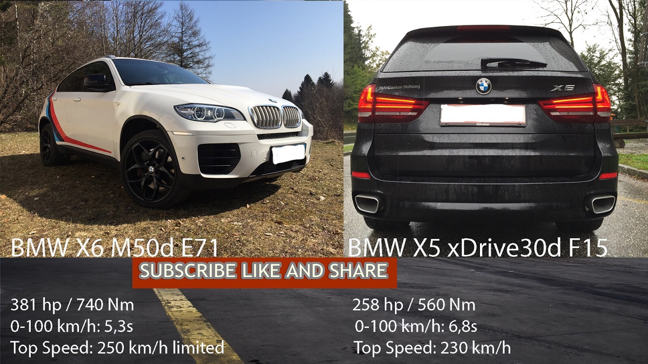 2012 Bmw X6 M50d E71 Vs 2015 Bmw X5 Xdrive30d 0 250 Km H Youtube