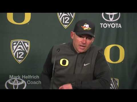 Mark Helfrich discusses Oregon's loss to Oregon State in the Civil War