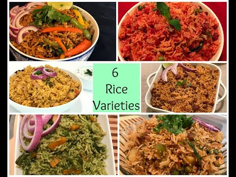 RiceRecipes | 6 Different Rice Recipes | Pulao Recipes | Lunch box Recipes | Indian Rice Varieties