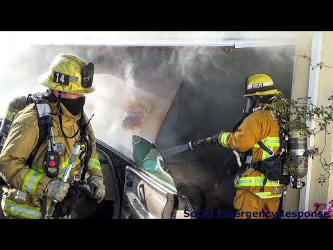 Vehicle Fire Threatens Home In Hawthorne/ RAW FOOTAGE