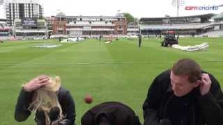 Ouch! ESPNcricinfo reporter hit by cricket ball