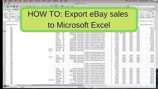 How to Export Ebay sales to Microsoft Excel