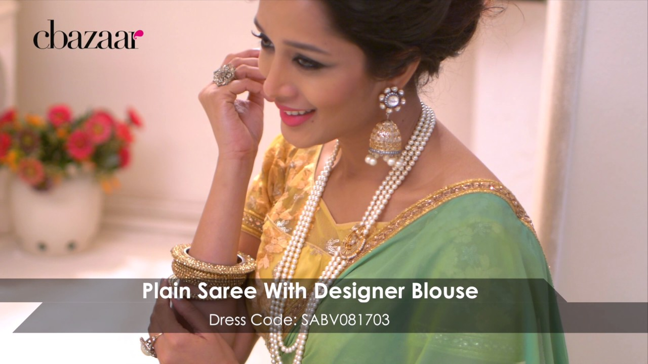 09789aff08 Bollywood Vogue - Plain Saree With Designer Blouse - YouTube