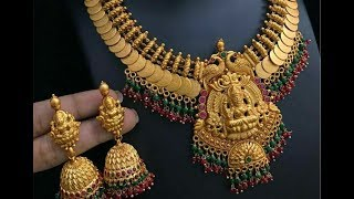 Latest 22k gold heavy bridal necklace designs with earrings