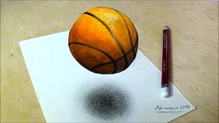 How to Draw Basketball - Drawing 3D Floating Ball - Vamos