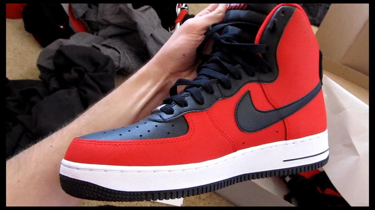 red black nike air force 1 high tops