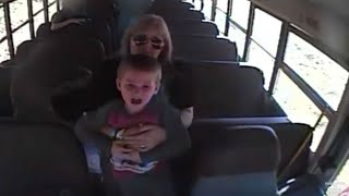 Bus driver lifts up terrified boy, seconds later, the camera catches a nightmare